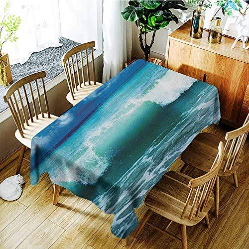 XXANS Large Rectangular Tablecloth,Ocean,Caribbean Island Coast Seascape Waves Water Splash Surfing Sports Theme,High-end Durable Creative Home,W60X102L Aqua Navy Blue White ()