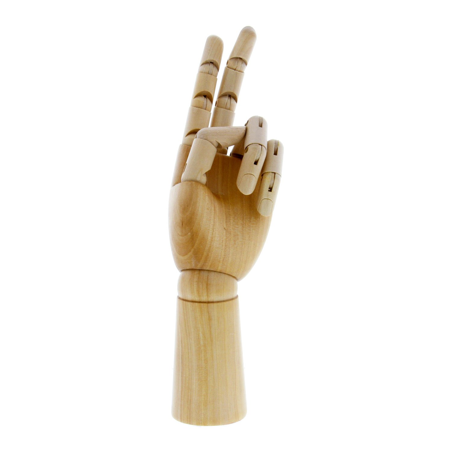 US Art Supply Wood Artist Drawing Manikin Articulated Mannequin with Wooden Flexible Fingers - Perfect For Drawing the Human Hand (12'' Left Hand)
