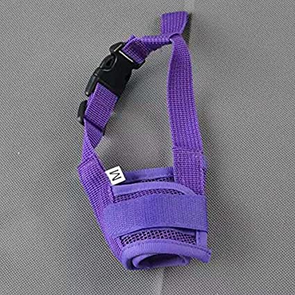 Keebgyy Dog Mouth Cover Soft and Comfortable Adjustable Strap Safety Breathable Nylon Cloth Anti-Biting Barking Muzzles for Small Medium Large Extra Dog
