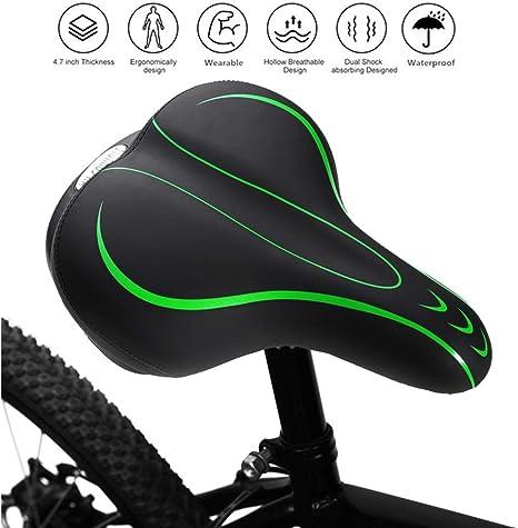 CAMMATE Asiento de sillín para bicicleta, diseño de bomba de aire de tamaño grande, reemplazo de