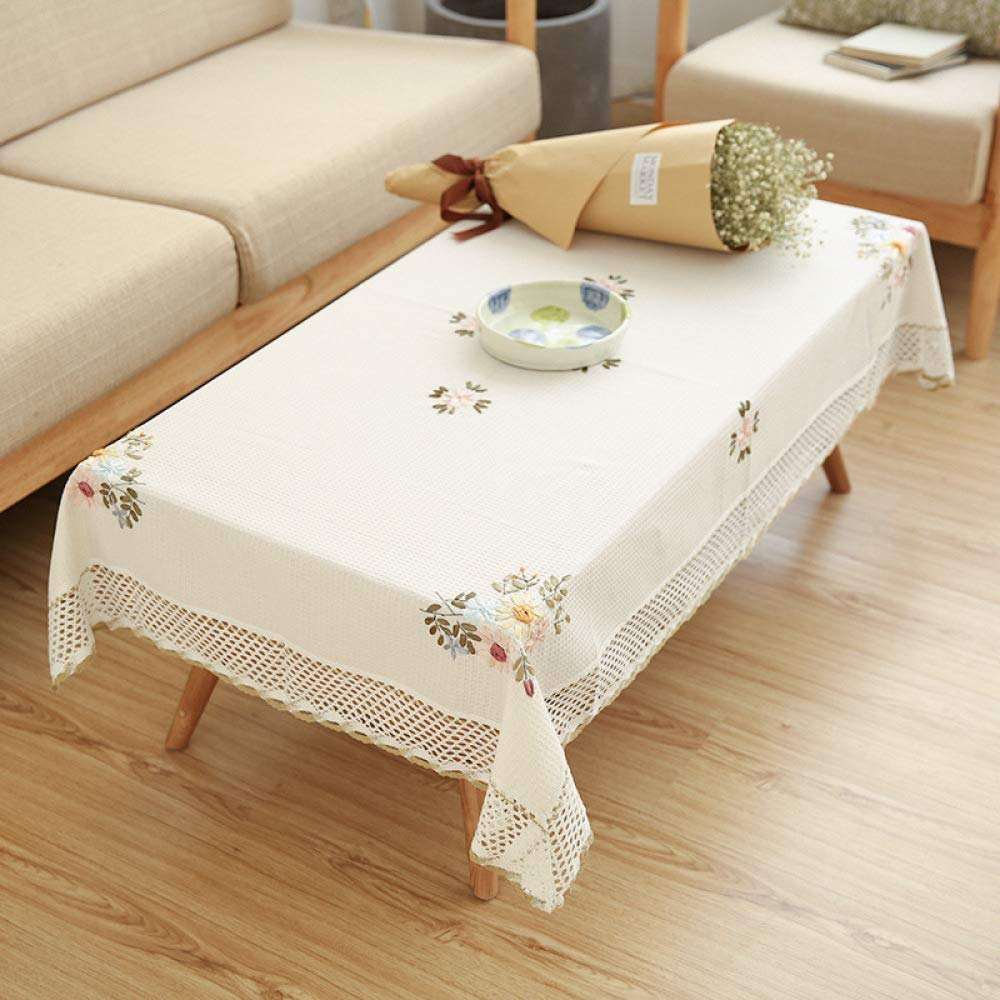 FENGDONG Flowers Tablecloth White Hollow Lace Cotton Linen Dustproof Table Color 01 130180CM by FENGDONGT
