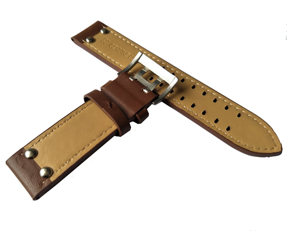 MSTRE NP125 22mm Watch Band Suitable for Hamilton Watches with Steel Buckle for Men&Women (20mm, Brown) by MSTRE (Image #4)