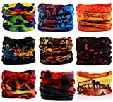 Kingree 9pcs Assorted Seamless Outdoor Sport Bandanna Headwrap Scarf Wrap, 12 in 1 High Elastic Magic Headband & Collars Muffler Scarf Face Mask with UV Resistance (Ancient Times)