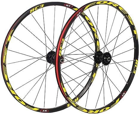 Zyy 26 Pulgadas MTB Bike Ruedas De Ciclismo, Bicicleta De Montaña CNC Rodamientos Sellados Freno De Llanta De Disco Compatible 8 9 10 11 Velocidad Llantas Hub (Color : Yellow): Amazon.es: Deportes y aire libre