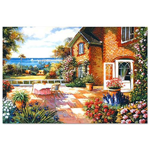 """Motiloo Jigsaw Puzzle 1000 Piece for Adult Garden Cottage Large Size 30"""" x 20"""", Thicken Cardboard Medium Difficulty for Gift"""
