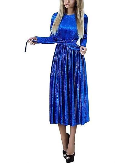 5037ac43eecfeb Damen Abendkleider Lang Elegant Vintage Samt Cocktailkleid Langarm Rundhals  Partykleider High Waist Plissee Herbst Winter Festliche