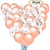 30 Piezas 12 Pulgadas Globos Confeti Oro Rosa Globos de Latex para Boda, Decoraciones de