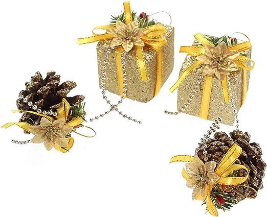 STOBOK Decoración Colgante Cono del Pino y Mini Caja de Regalo Dorado para Adorno de Árbol de Navidad 4pcs: Amazon.es: Hogar