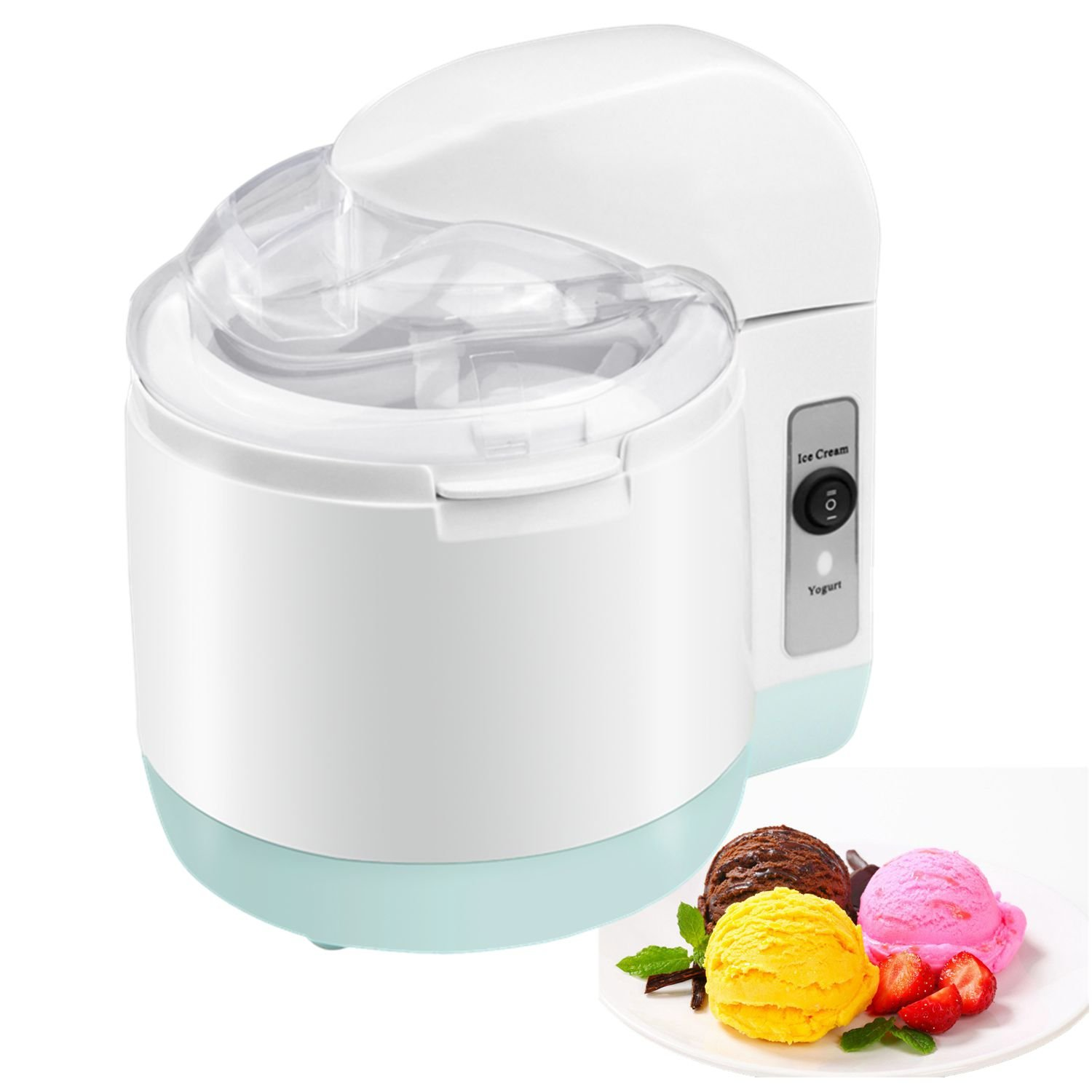 Ice Cream Maker, FociPow Homemade Frozen Yogurt Machine - Best Electric Ice Cream Machine for Kids, Fruit Soft Server Machine,1.5L (White)