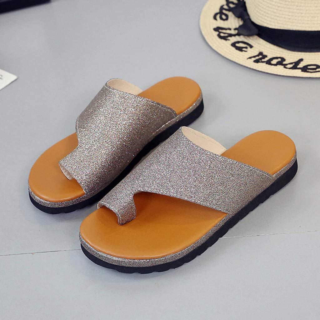 6.5, Gold Women Comfy Platform Sandal Shoes,Ladies Shoes Roman Slippers Biling Biling Peep Toe Sandals,Retro platform toe slippers,Summer Beach Travel Shoes,Outdoor non-slip Sandals