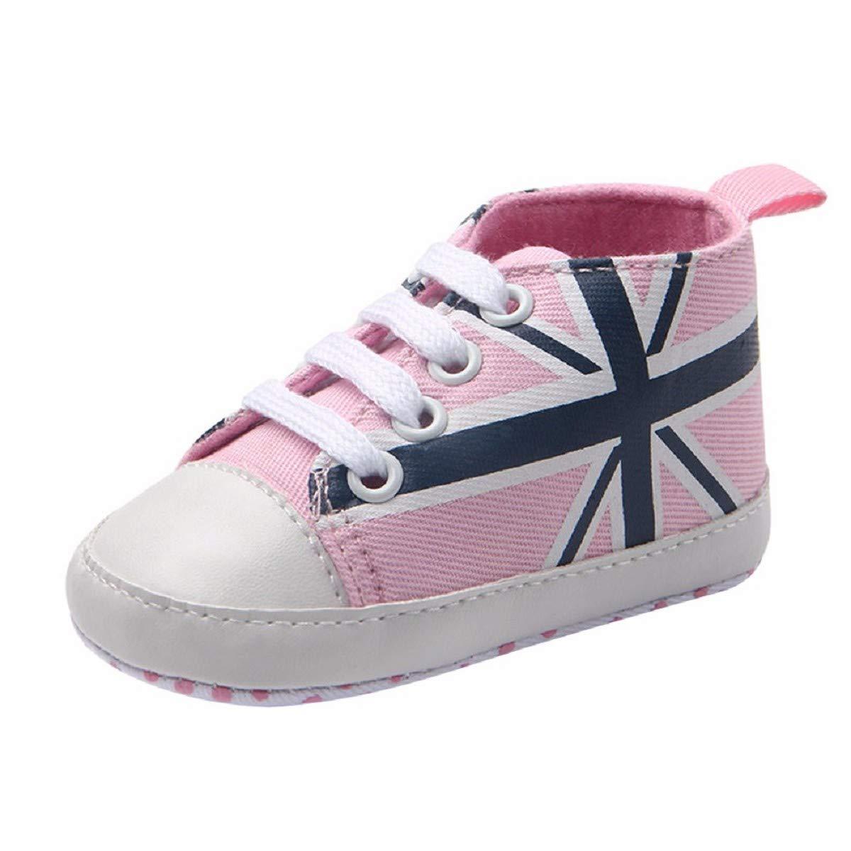 Newborn Canvas Shoes FAPIZI Infant Baby Union Jack Flag Print Canvas Anti-Slip Soft Shoes Sneaker Pink