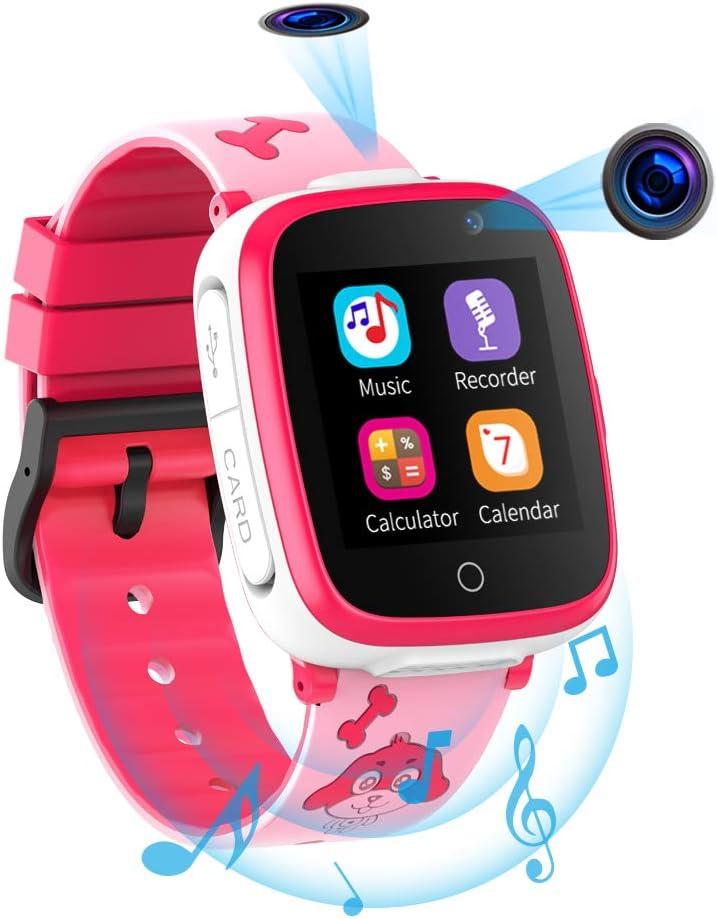 Reloj Inteligente para Niños de 2 Cámaras con Juegos de Música - 1.54 Pantalla Táctil en Color SOS Relojes Inteligentes Llamadas Bidireccionales Despertador 3-12 Años Cumpleaños de Estudiantes
