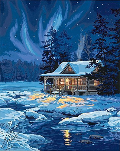 DIY Oil Painting Newsight Paintworks Paint By Number for Kids and Adults (Moonlit Cabin)