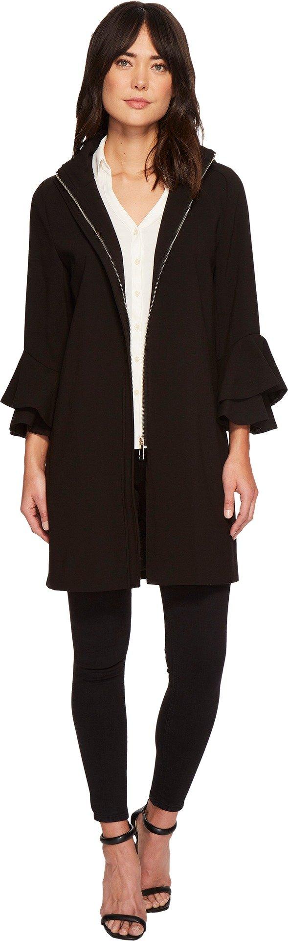 Ivanka Trump Womens Softshell Flutter Sleeve Hooded Jacket Black XL (US 16) One Size