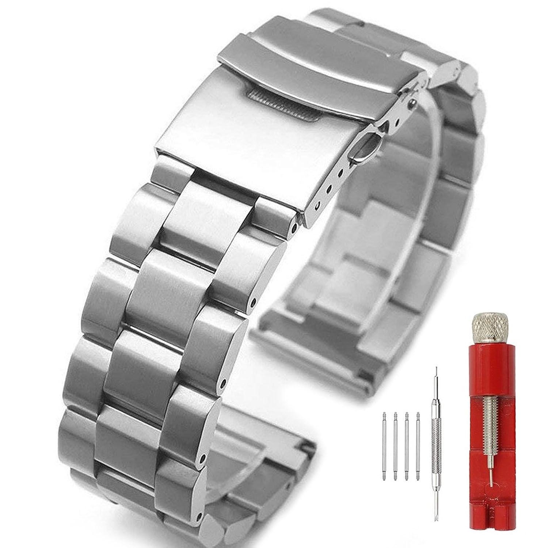 18 mm 20 mm 22 mm 24 mmステンレススチールリンク腕時計バンド交換ストラップブレスレットDouble Locking Clasp 20mm  20mm B07D14THVM