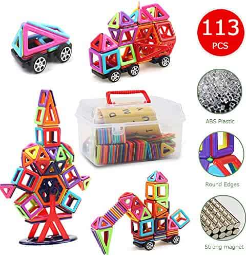 Magnetic Blocks,Banne 113 PCS Magnetic Tiles Building Blocks Educational Toy Set for Kids with Storage Box Good for Enhancing Imagination Creativity and Logical Ability