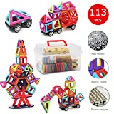 Toys : Magnetic Blocks,Banne 113 PCS Magnetic Tiles Building Blocks Educational Toy Set for Kids with Storage Box Good for Enhancing Imagination Creativity and Logical Ability