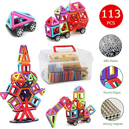 Banne Mini Magnetic Blocks113 PCS Magnetic Tiles Building Blocks Educational Toy Set for Kids with Storage Box Good for Enhancing Imagination Creativity and Logical Ability