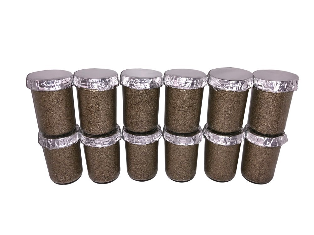 Maximumstore - 12 Ultimate Half Pint Mushroom Substrate Jars, Grow Mushrooms Fast!!