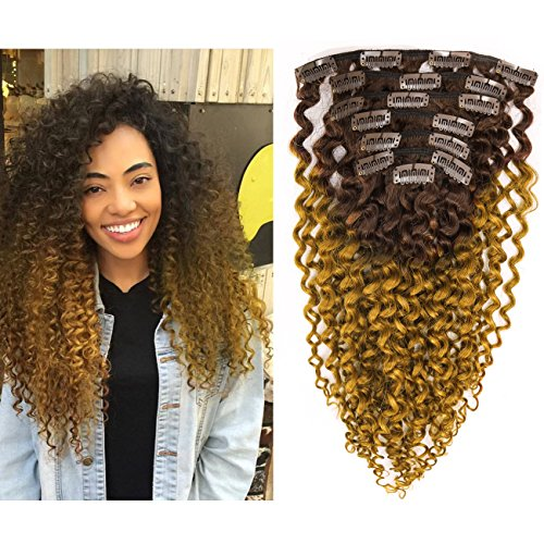 Beauty : Kinky Curly Hair Extension Clip in Human Hair Extensions 10-22 inch 7Pcs/120G Ombre Natural Black Hair Extensions Colored Two Tone Dark Brown 3B 3C For Black Women (16 inch, Ombre #4/27 Curly)