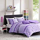 Mi-Zone Riley Comforter Set Twin/Twin Xl Size - Purple, Floral – 3 Piece Bed Sets – Ultra Soft Microfiber Teen Bedding For Girls Bedroom