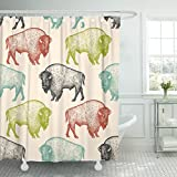 TOMPOP Shower Curtain Animals North America Bison of Wildlife Black White Green Waterproof Polyester Fabric 60 x 72 Inches Set with Hooks
