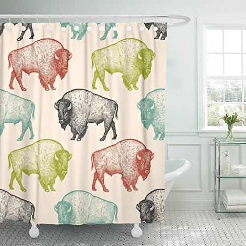 TOMPOP Shower Curtain Animals North America Bison of Wildlife Black White Green Waterproof Polyester Fabric 60 x 72 Inches Set with Hooks by TOMPOP