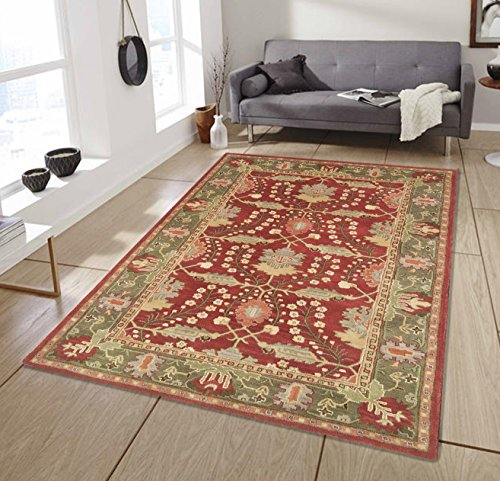 Allen Home Wool Rug Allie Rust Tufted Persian Traditional Area Rug Carpet William Morris Art and Crafts(9'X12')