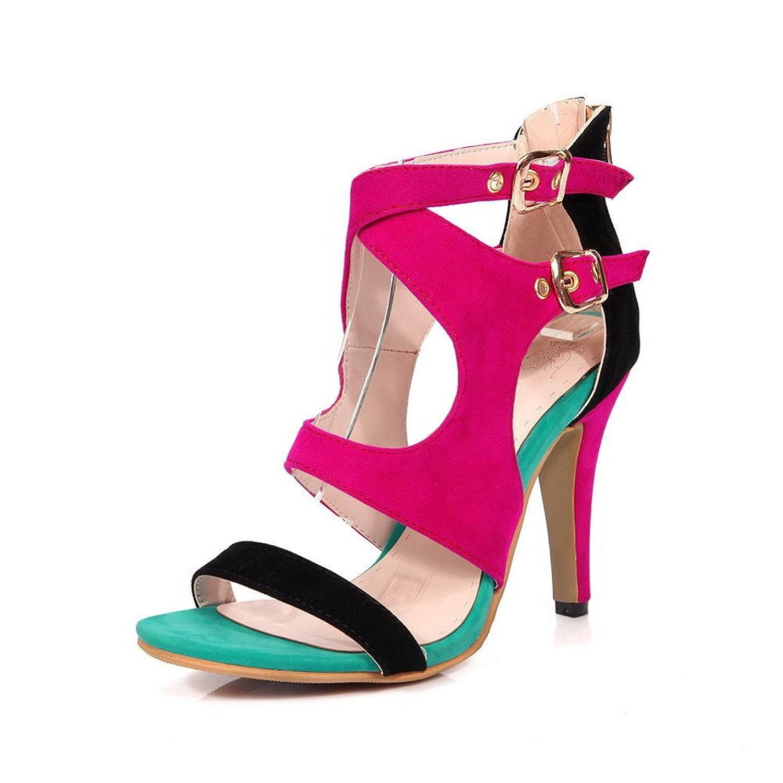 AalarDom Women's Zipper Open Toe Spikes Stilettos Imitated Suede Solid Sandals