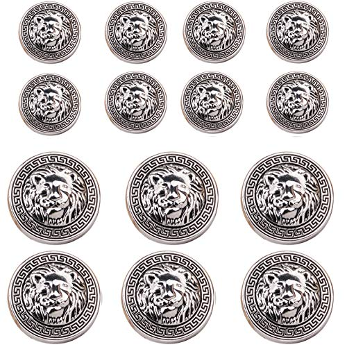 (14 Pieces Silver Vintage Antique Metal Blazer Button Set - 3D Lion Head - for Blazer, Suits, Sport Coat, 15mm 20mm )