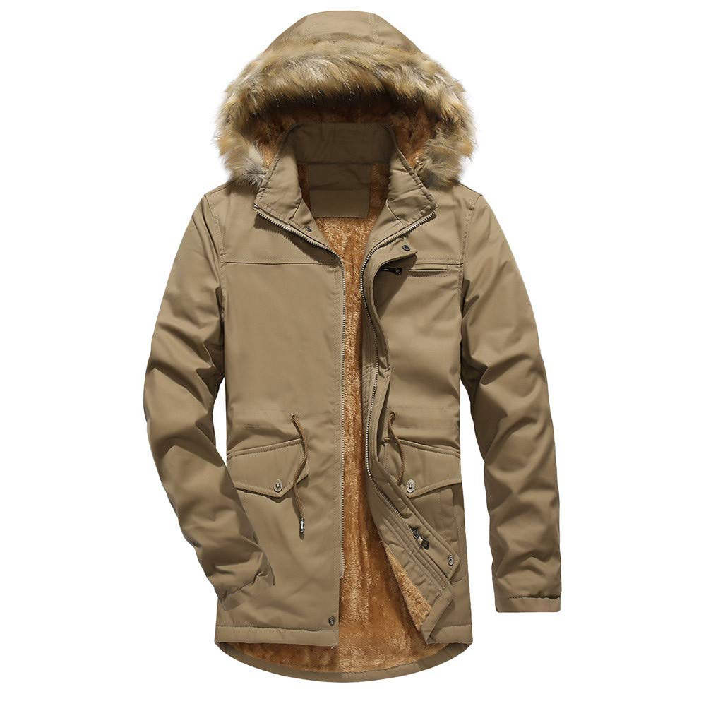 Mens Winter Coats,Men Camouflage Thickening Coat Outwear Windbreaker Plus Size,Boys Winter Coats(L,Khiki)