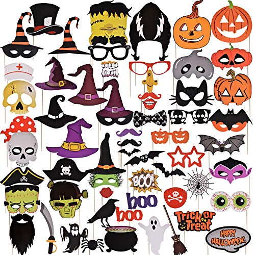 FUN LITTLE TOYS Halloween Photo Booth Props 68 PCs Kids DIY Photo Booth Props Kit for Halloween Party Favors,Halloween Games for Kids -