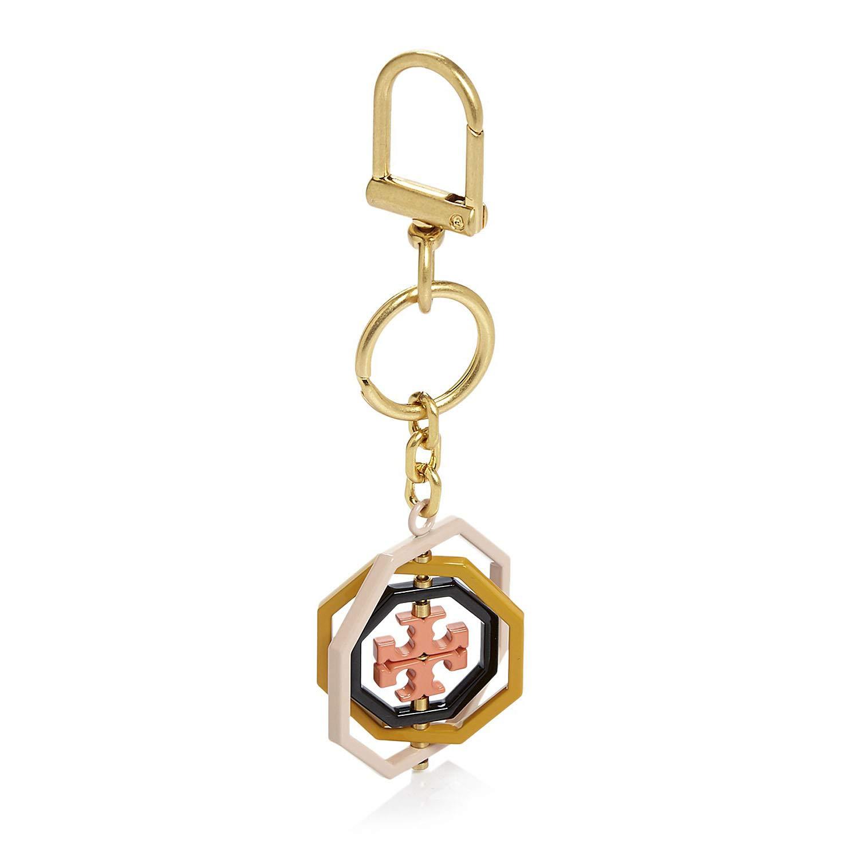 Tory Burch Rotating Geo Logo Key FOB Bag Charm, Ballet Pink Multi