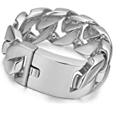 Rowin&CO Chunky Heavy 32mm Thick Stainless Steel Bracelet Mens Punk Gothic Curb Cuban Chain,9.5 inch
