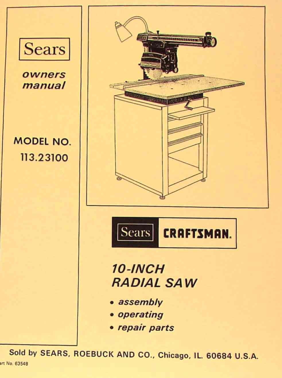 "CRAFTSMAN 10"" Radial Arm Saw 113.23100 Owners Instructions & Parts Manual:  Misc.: Amazon.com: Books"