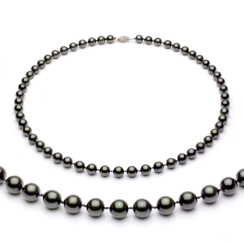 Sterling Silver 7-7.5mm Black Akoya Cultured High Luster Pearl Necklace, 18''