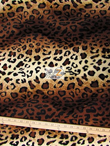 VELBOA FAUX FAKE FUR LEOPARD ANIMAL SHORT PILE FABRIC - Brown/Light Brown - 60