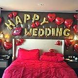 GUO PING HAPPY WED イン G ハッピーウェディング バルーン装飾セット 結婚式 お祝い 宴会飾り ハート形 風船 パーティーの飾り (ゴールデン)