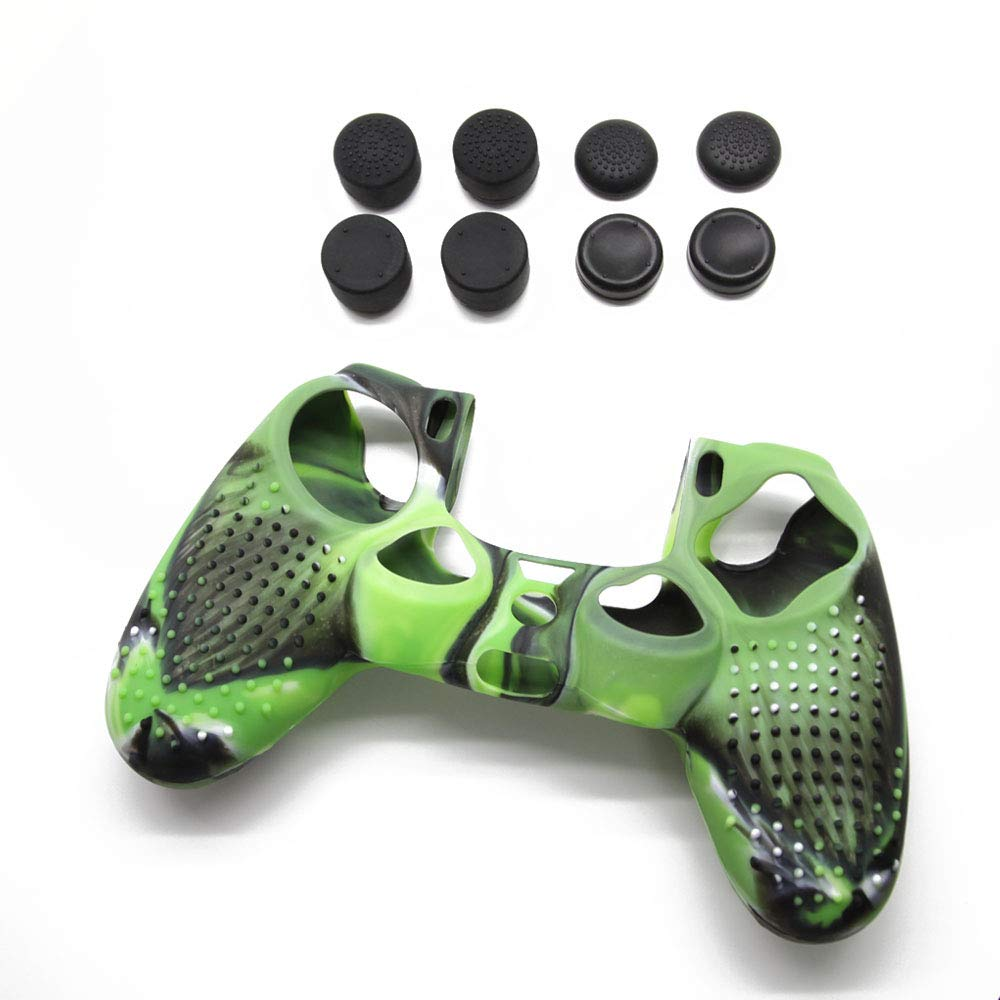 Jietron Studded Anti-slip Silicone Cover Skin Set for PS4 /SLIM /PRO controller(controller skin x 1 + FPS PRO Thumb Grips x8)