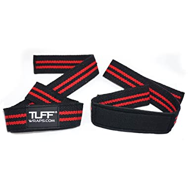 •TUFF Quality Cotton Woven Lifting Straps, Padded Medical Grade Neoprene Wrist Pad Support - Up to 19  Long Weightlifting Straps for Maximum Support by TuffWraps.com