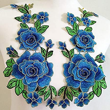 1 Pair Embroidery Rose Flower Sew On Patch Dress Hat Bag Jeans Applique Crafts Clothing Accessories DIY Pink