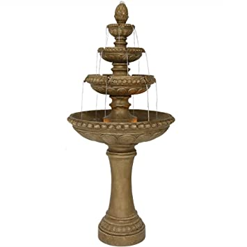 Sunnydaze large 4 tier eggshell outdoor water fountain with led lights 65 inch tall perfect for patio or yard submersible electric pump included sunnydaze large 4 tier eggshell outdoor water fountain with led lights 65 inch tall mozeypictures Gallery