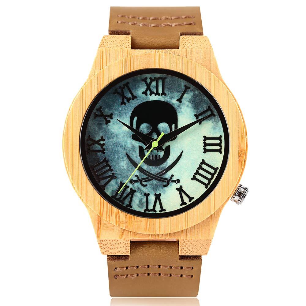 Wooden Watches, Cool Skull Luminous Roman Numbers Dial Wood Quartz Watch, Bamboo Wristwatch Bracelet