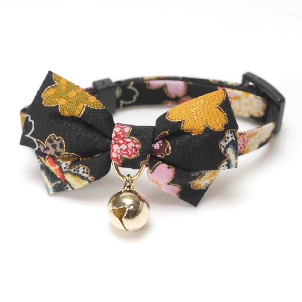 Japanese Kimono Bow Tie Cat Collar (Black)