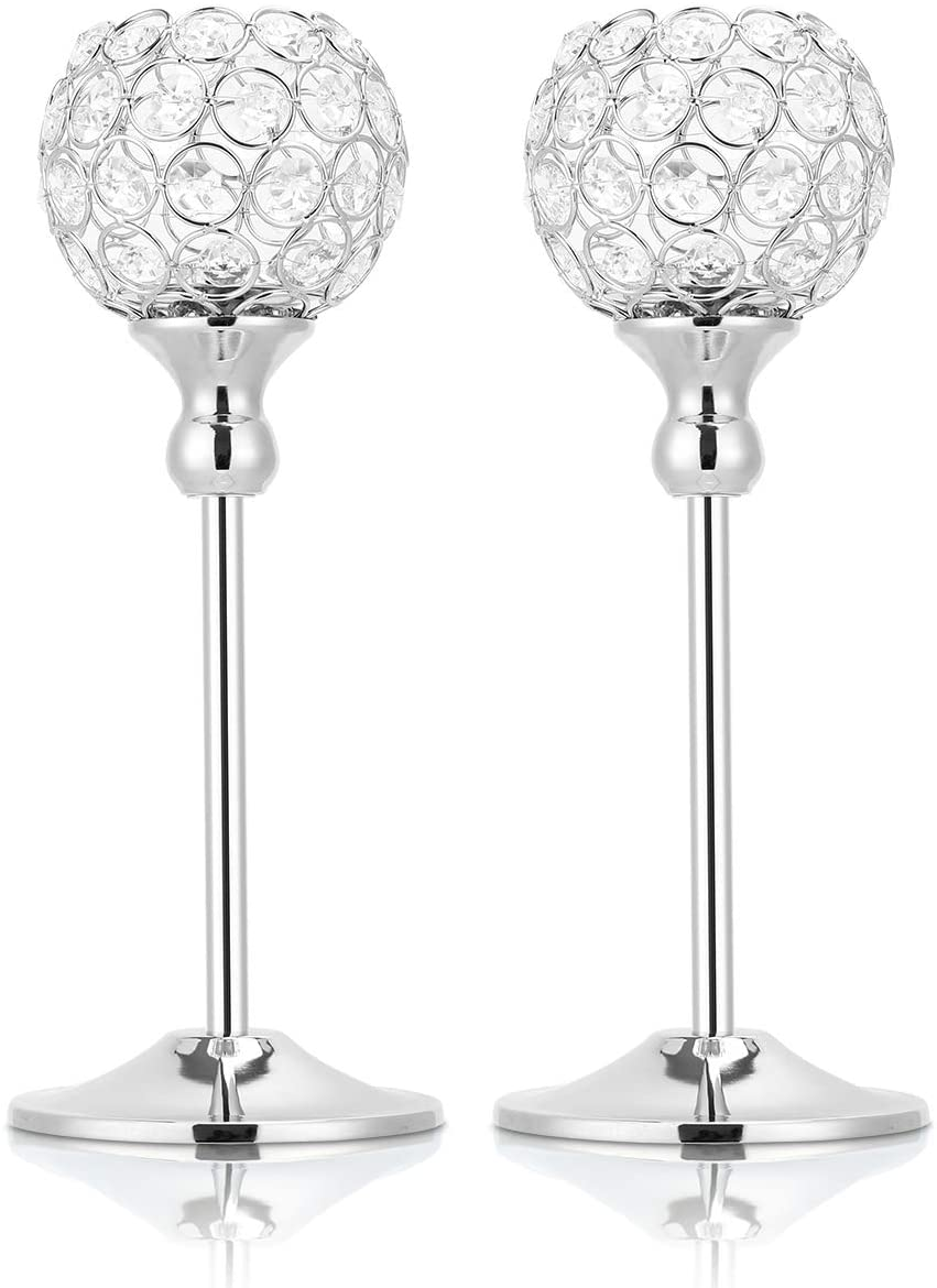 2 Packs Crystal Candle Holders, Candle Stand Candlesticks for Home Wedding Party Centerpiece, Dinner Event Restaurant Hotel Decoration
