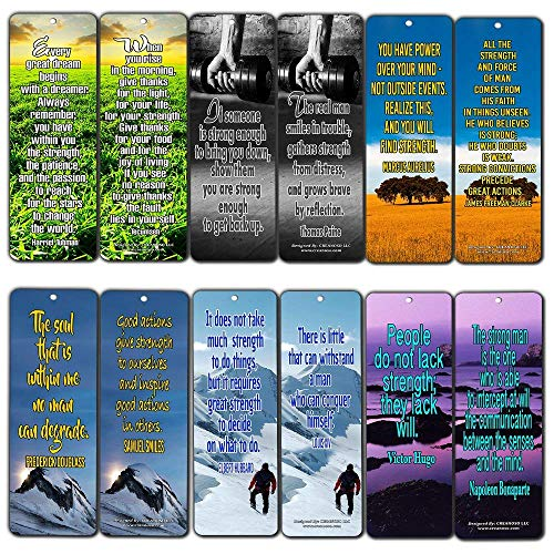 Creanoso Inspirational Stay Strong Quotes Bookmarks (60-Pack) - Positive Affirmation Sayings Cards - Encouragement Gifts - for Men Women Adults Teens Kids Entrepreneur Family Friends