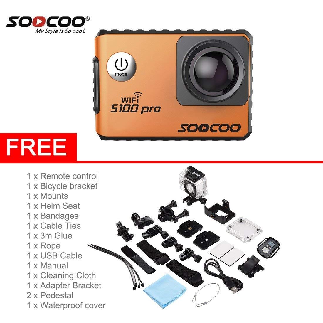 Formulaone SOOCOO Sprachsteuerung S100Pro Wasserdichte Action Kamera WiFi 4K HD 2.0 Touchscreen Sport Kamera Mit Mikrofon GPS-Verlängerung - Orange