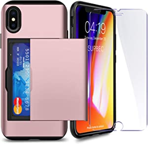 "iPhone X/XS Case with Card Holder and[ Screen Protector Tempered Glass x2Pack] SUPBEC i Phone X Wallet Case Cover with Shockproof Silicone TPU + Anti-Scratch Hard PC - Full Protective-5.8""-Rose Gold"