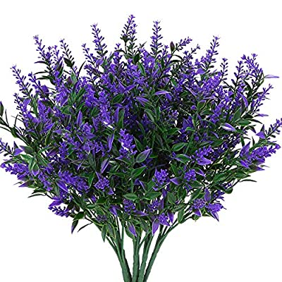 KLEMOO Artificial Lavender Flowers Plants 6 Pieces, Lifelike UV Resistant Fake Shrubs Greenery Bushes Bouquet to Brighten up Your Home Kitchen Garden Indoor Outdoor Decor
