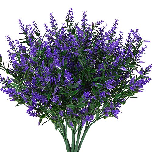KLEMOO Artificial Lavender Flowers Plants 6 Pieces, Lifelike UV Resistant Fake Shrubs Greenery Bushes Bouquet to Brighten up Your Home Kitchen Garden Indoor Outdoor Decor(Purple)